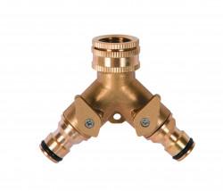 Nez de robinet laiton fil. 3/4 avec 2 sorties raccord rapide + robinet arrêt