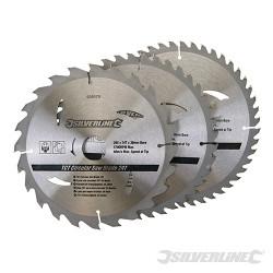 3 lames scie circulaire carbure de tungstène 24,40,48 dents 205 x 30 - bagues de 25, 18 et 16 mm