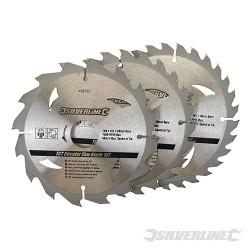 3 lames scie circulaire carbure de tungstène 16, 24 et 30 dents 160 x 30 - bague de réduction de 20,16,10 mm