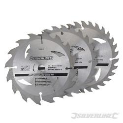 3 lames scie circulaire carbure de tungstène 16, 24 et 30 dents 135 x 12,7 - bague de réduction de 10 mm