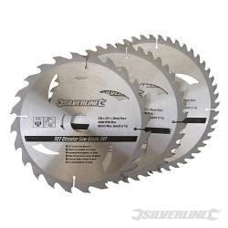 3 lames scie circulaire carbure de tungstène 24,40,48 dents 230 x 30 - bagues de 25, 20 et 16 mm