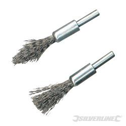 Jeu de 2 brosses-pinceaux à fils d'acier à décalaminer Tige de 6 mm