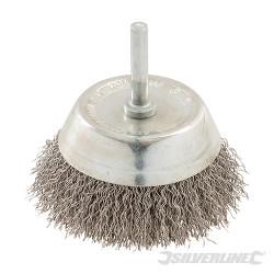 Brosse à boisseau fils d'acier inox 75 mm