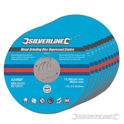 10 disques à meuler le métal à moyeu déporté 115 x 6 x 22.2 mm