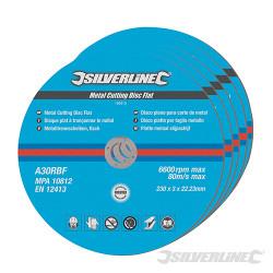 5 disques plats à tronçonner le métal 230 x 3 x 22,2 mm