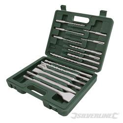 Coffret 15 pièces de forets et burins à maçonnerie SDS-Plus 15 pcs