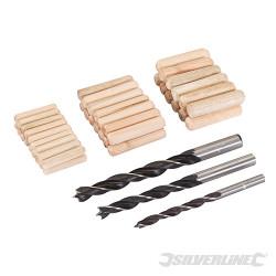 Lot 47 pièces de chevilles et mèches à bois 6, 8 et 10 mm