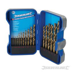 Cassette de 17 mèches en acier rapide HSS titanées 17 pcs