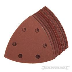Lot de 10 feuilles abrasives auto-agrippantes triangulaires 90mm Grains assortis :  4 x 60, 2 x 80, 120, 240