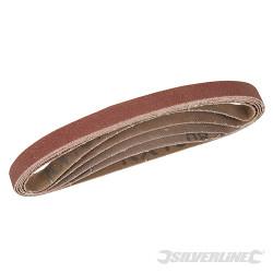 Lot de 5 bandes abrasives 10 x 330mm 40, 60, 2 x 80 et 120 G