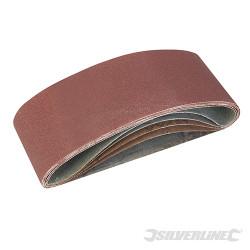 Lot de 5 bandes abrasives 75 x 457mm Grains assortis : 40, 60, 2 x 80 et 120