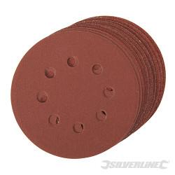 Lot de 10 disques abrasifs auto-agrippants perforés 125mm Grains assortis : 4 x 60, 2 x 80, 120, 240
