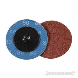 Kit 5 disques abrasifs à changement rapide 50 mm Grain 80