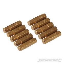 10 embouts dorés 6 pans Embout hexagonal 6 mm