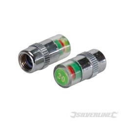 Jeu de 2 valves manométriques pour pneus 2,06 bar