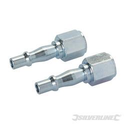 2 coupleurs baïonnette/filetage pour tuyau air comprimé 1/4