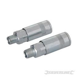 2 coupleurs rapides pour tuyau air comprimé 1/4 BSP