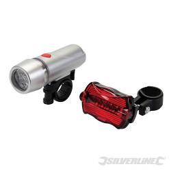 Jeu 2 lumières d'éclairage vélo 5 LED 2 lumières