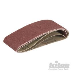 Lot de 3 bandes abrasives pour la ponceuse à bande compacte Triton TCMBS40G 3 bandes abrasives corindon grain 40