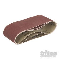 Lot de 3 bandes abrasives pour la ponceuse à bande compacte Triton TCMBS100G 3 bandes abrasives corindon grain 100