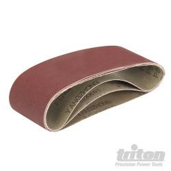 Lot de 3 bandes abrasives pour la ponceuse à bande compacte Triton TCMBS60G 3 bandes abrasives corindon grain 60