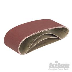 Lot de 3 feuilles abrasives pour la ponceuse à bande compacte Triton TCMBSFPK