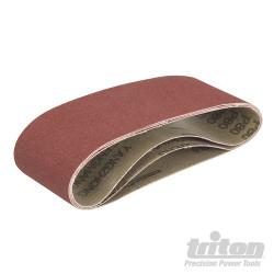 Lot de 3 bandes abrasives pour la ponceuse à bande compacte Triton TCMBS80G 3 bandes abrasives corindon grain 80
