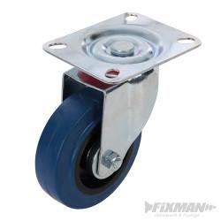 Roulette en caouthcouc pivotante 100 mm 140 kg bleue