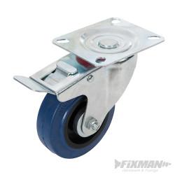 Roulette pivotante en caouthcouc avec frein 100 mm 140 kg bleue