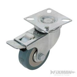 Roulette pivotante caoutchouc à frein 50 mm 50 kg