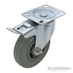Roulette pivotante caoutchouc à frein 125 mm 100 kg
