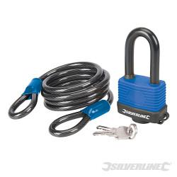 Ensemble 2 pcs : câble de sécurité en acier et cadenas résistant aux intempéries 1,8 m x 8 mm
